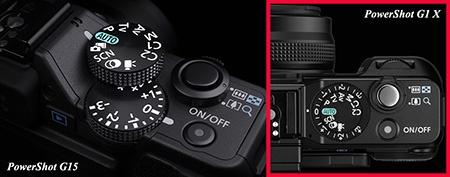Canon PowerShot G15 - uspořádání horních otočných voličů
