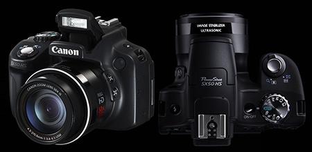Canon PowerShot SX50 HS - výklopný blesk a pohled shora