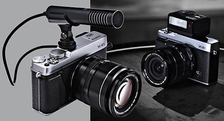 Fujifilm X-E1 - externí příslušenství: stereomikrofon a kompaktní blesk EF-X20