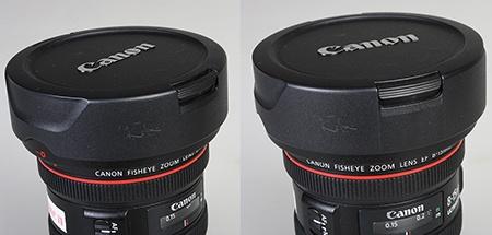 dva pohledy na krytku s tlačítky pro její uvolnění z objektivu
