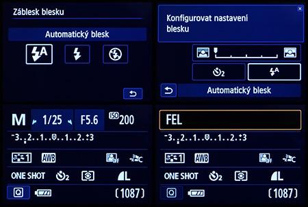 Canon EOS 650D - LCD: režimy a funkce blesku
