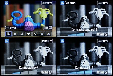 Canon EOS 650D - LCD: efekt zrnitého čb filmu