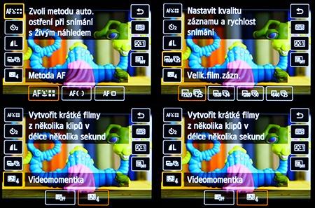 Canon EOS 650D - LCD: nabídky na dotykovém panelu