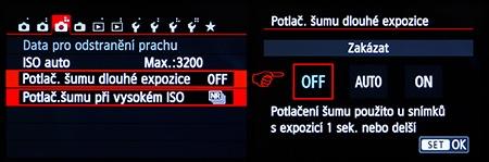 Canon EOS 650D - LCD: redukce šumu - dlouhé časy
