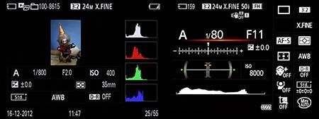 informace o snímku a indikace nastavených parametrů a funkcí