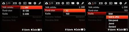 LCD: volby typu, velikosti a formátu souborů