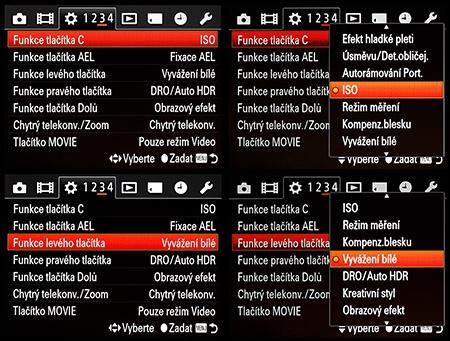 LCD: některé možnosti uživatelského určení funkcí pro tlačítka