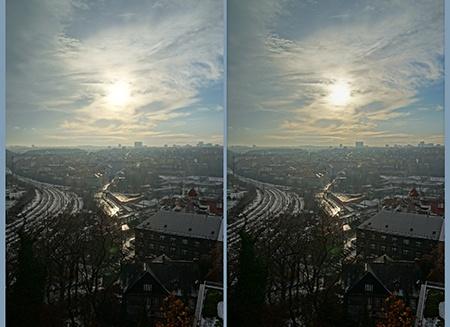 přímé protisvětlo v HDR zobrazení - slunce v záběru na výšku