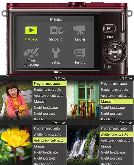 Nikon 1 J3 - displej a ukázky nabídek režimů