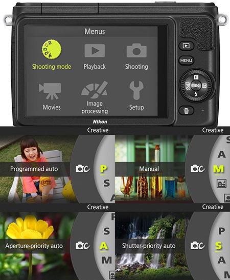 Nikon 1 S1 - displej a některé nabídky režimů