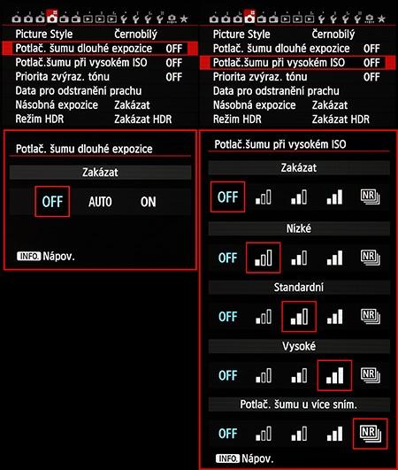 Canon EOS 6D - funkce redukce šumu