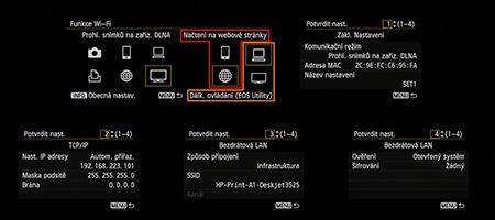 funkce Wi-Fi v menu fotoaparátu