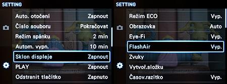 podpora Eye-Fi a FlashAir