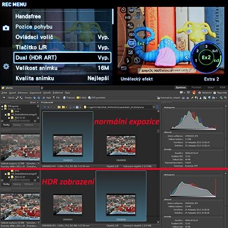 normálně vs. HDRI + ukázky histogramů