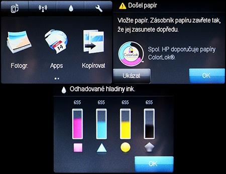HP Deskjet IA 5525 eAiO: zprovoznění, kontrola, ovládání