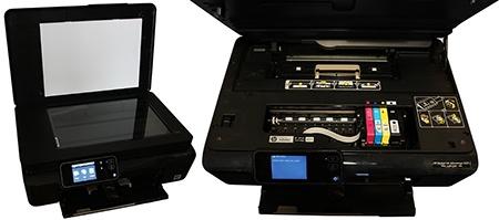 HP Deskjet IA 5525 eAiO: skleněná deska pro sken a pohled na tiskový stroj a inkoustové kazety