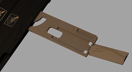 HP Deskjet IA 5525 eAiO: zásobník - výklopná plocha na výtisky se zarážkou