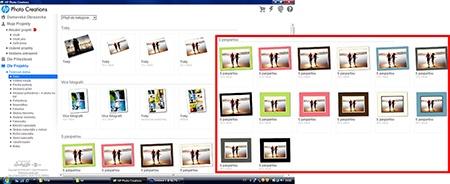HP Photo Creations - základní nabídka možností