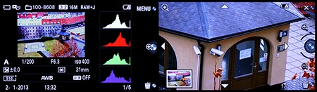 Sony Alfa NEX-6 - některé možnosti zobrazení na displeji