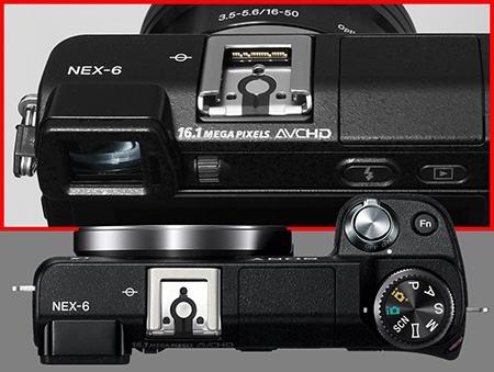 Sony Alfa NEX-6 shora - sáňky s konektory pro externí příslušenství