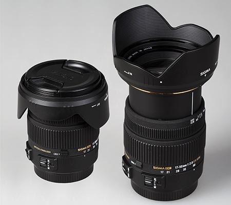 Sigma 17–50 mm 1:2,8 EX DC OS HSM - krytky a sluneční clona