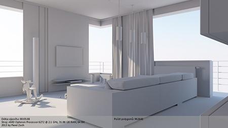 CINEMA 4D R14 – globální iluminace a osvětlení interiéru - základní snímek
