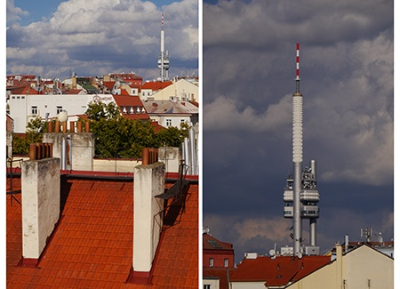 střecha V - wide vs. tele