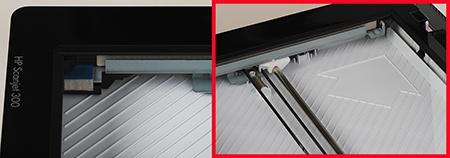 detaily skenovací plochy a šipka směřující umístění předlohy