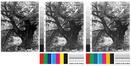 originální fotografie + 2x testovací tabulka