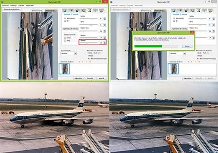 samotné skenování + naskenovaná barevná fotografie
