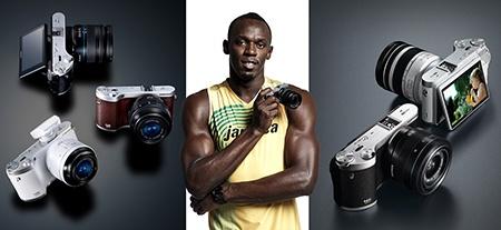 Samsung NX300 a Usain Bolt plus nabízené varianty, ilustrace
