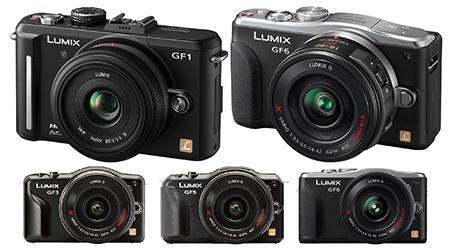 Lumix GF1 až GF6 - vizuální srovnání