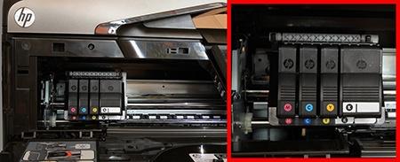 inkoustové kazety - umístění + přístup