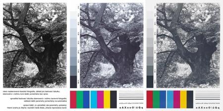srovnání skenu fotografie a dvou testovacích výtisků