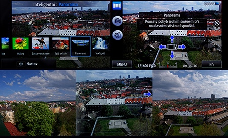 LCD: inteligentní scénické režimy; panorama jako příklad