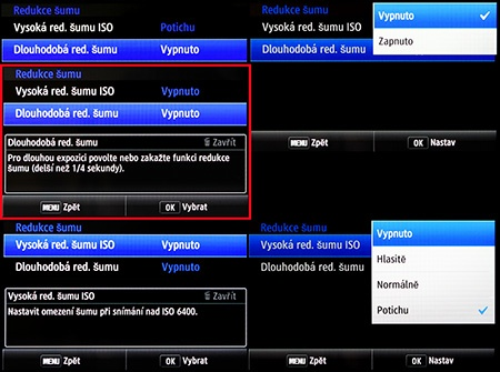 LCD: fce pro snížení obrazového šumu
