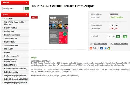 ILFORD GALERIE Premium Lustre 270 gsm 10 × 15 cm/3× 50+50