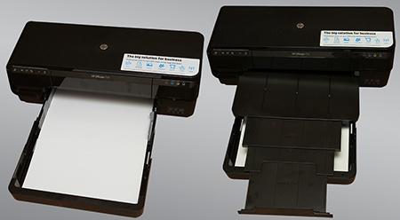 HP Officejet 7110 Wide Format ePrinter - zásobník papíru a výstupní plocha v nastavení pro A3/A3+ tisk