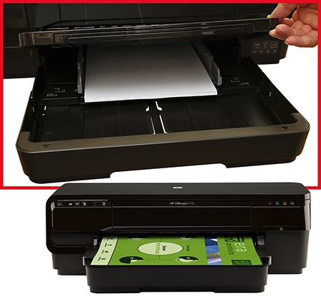 HP Officejet 7110 Wide Format ePrinter - zásobník papíru a výstupní plocha