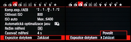 Canon EOS M - expozice dotykem