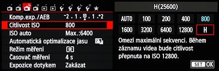 Canon EOS M: citlivost ISO v menu