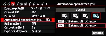 Canon EOS M: optimalizace jasu