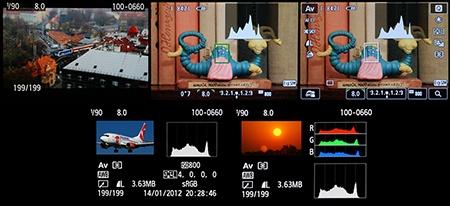 Canon EOS M - zobrazení na LCD