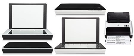 HP ScanJets: vlevo 200, uprostřed 300 a vpravo 3000 S2