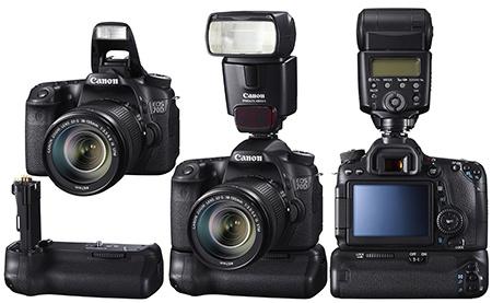 Canon EOS 70D + bateriové madlo + externí blesk