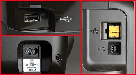 detaily zadní a přední stěny: konektory vč. USB pro přímý tisk z flash paměti a síťové připojení