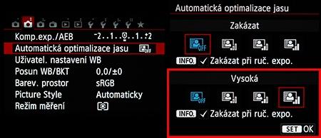 automatická optimalizace jasu