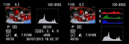 zobrazení na displeji - info + histogramy