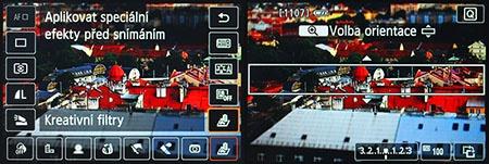 speciální efekty aplikované před snímáním (Live View)