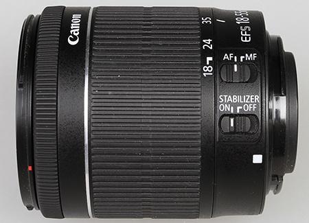 Canon EF-S 18–55 IS STM - ovládací prvky